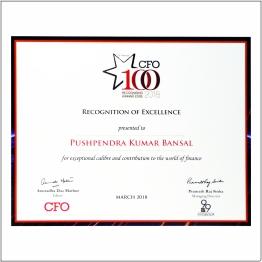 Prestigious CFO 100 Award