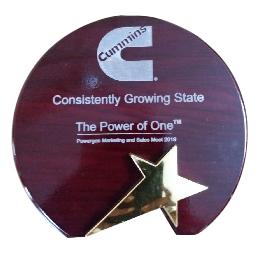 Exemplary performance Award by Cummins