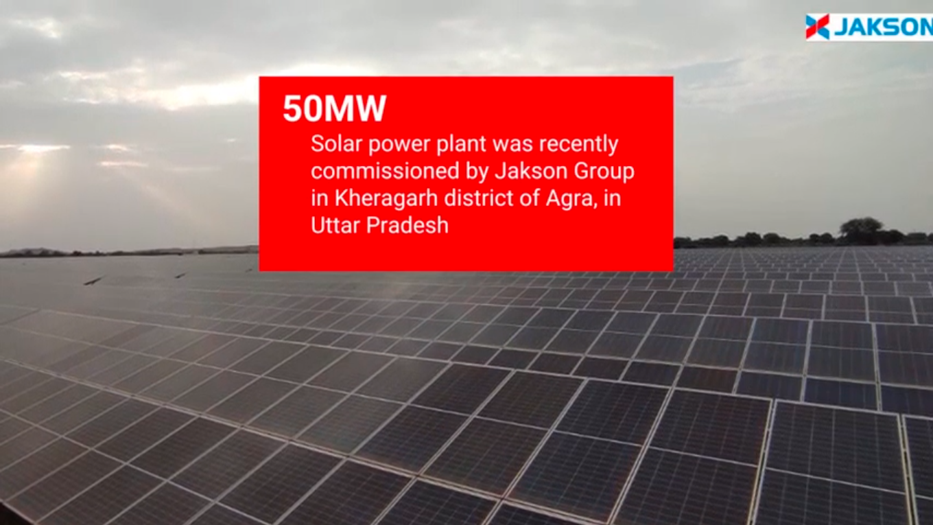 50 MW Solar power plant commissioned by Jakson Group in Kheragarh district of Agra, in Uttar Pradesh