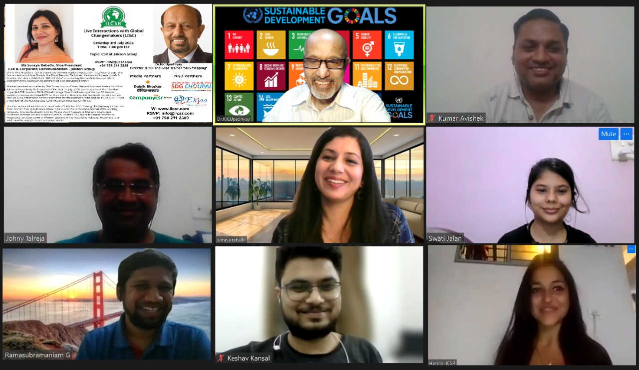 Live interaction with Global Change makers with Ms Soraya - Head CSR & Corporate Communications